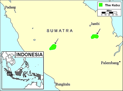 Kubu, Orang Darat in Indonesia map