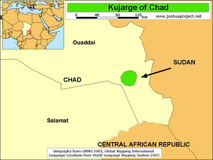 Kujarge in Chad map