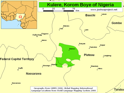 Kulere, Korom Boye in Nigeria map