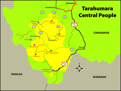 Tarahumara, Central in Mexico map