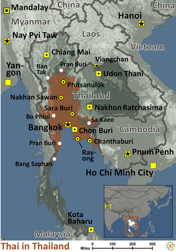 Thai in Thailand map