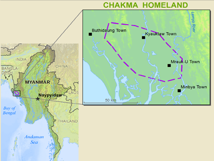 Chakma in Myanmar (Burma) map