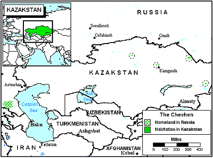 Chechen in Kazakhstan map
