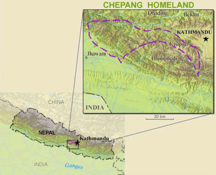 Chepang in India map