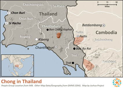 Chong in Thailand map