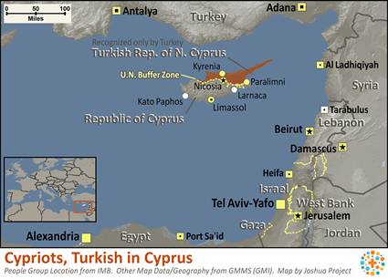 Cypriots, Turkish in Cyprus map