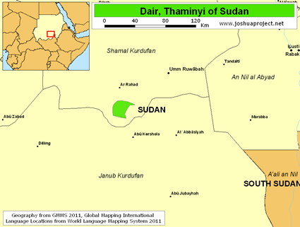 Dair, Thaminyi in Sudan map