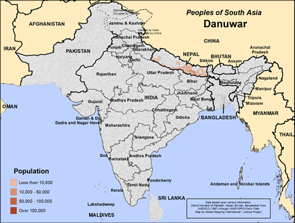 Danuwar Rai in Nepal map