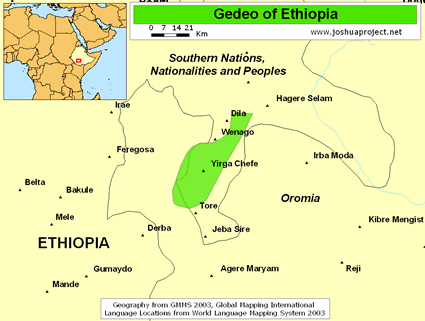 Gedeo in Ethiopia map