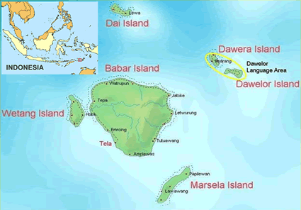 Davelor in Indonesia map