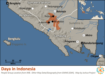 Daya in Indonesia map