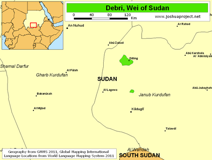 Debri, Wei in Sudan map