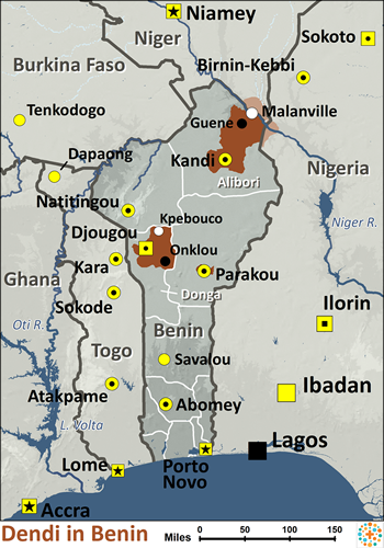 Dendi, Dandawa in Benin map