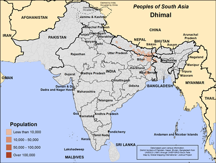 Dhimal in Nepal map
