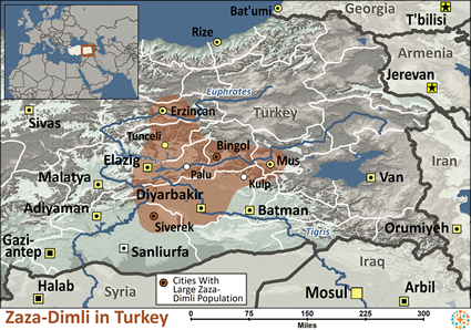 Zaza-Dimli in Turkey map