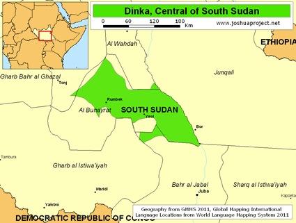 Dinka, Central in South Sudan map