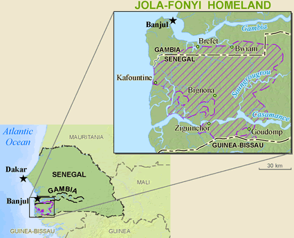 Jola-Fonyi in Gambia map