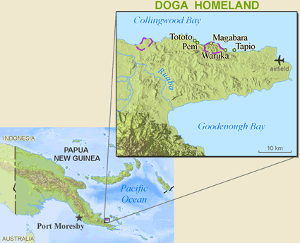 Doga in Papua New Guinea map