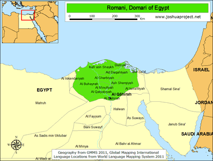 Romani, Domari in Egypt map