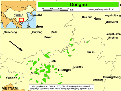 Dongnu in China map