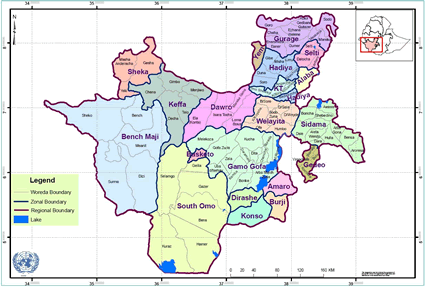 Dorze in Ethiopia map