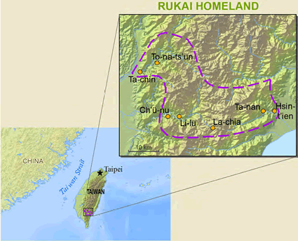 Rukai, Tsalisen in Taiwan map