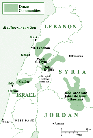 Druze in United States map