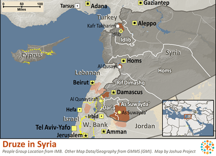 Druze in Syria map