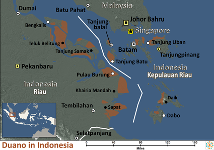 Duano in Indonesia map