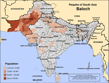 Baloch in Pakistan map