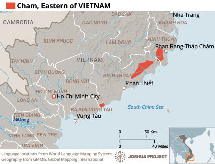 Cham, Eastern in Vietnam map