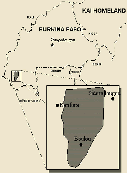 Karaboro, Eastern in Burkina Faso map