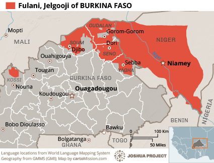 Fulani, Jelgooji in Burkina Faso map