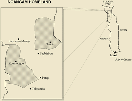 Gangam in Benin map
