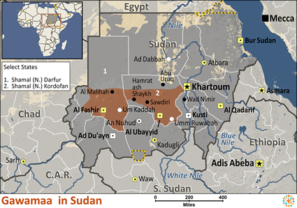 Gawamaa in Sudan map