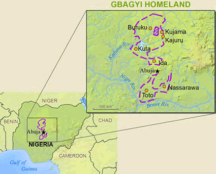 Gbagyi in Nigeria map