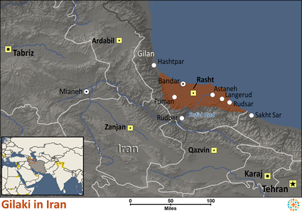 Gilaki in Iran map