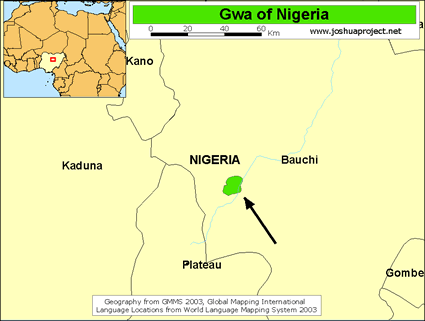 Gwa in Nigeria map