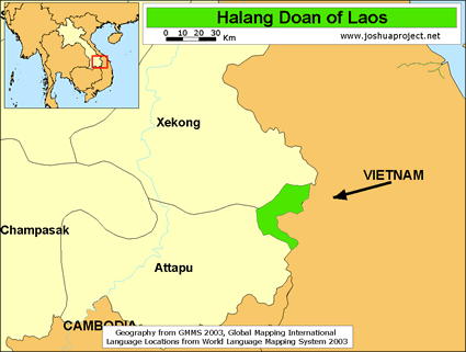 Halang Doan in Laos map