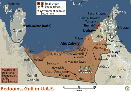 Bedouin, Gulf in United Arab Emirates map