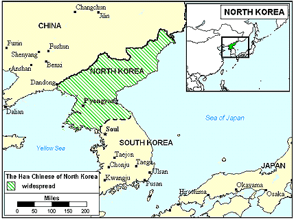 Han Chinese, Mandarin in Korea, North map