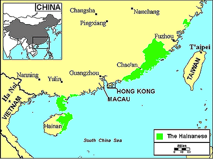 Han Chinese, Hainanese in China map