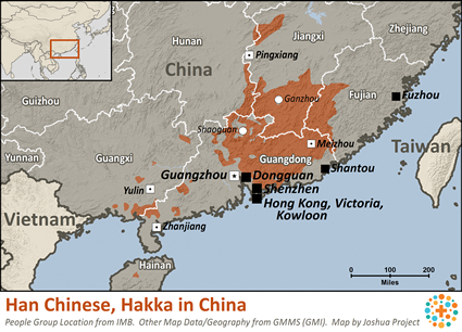 Han Chinese, Hakka in China map