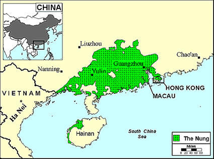 Han Chinese, Cantonese in China map