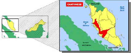 Han Chinese, Cantonese in Malaysia map