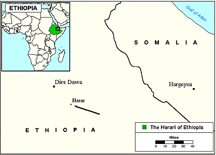 Harari in Ethiopia map