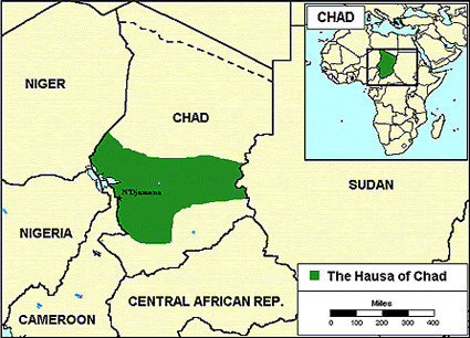 Hausa in Chad map