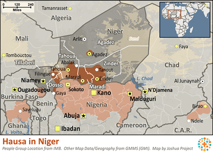 Hausa in Niger map