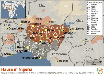 Hausa in Nigeria map