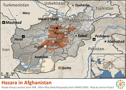Hazara in Afghanistan map